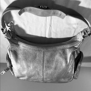 Vintage Tignanello Silver Leather Shoulder Bag